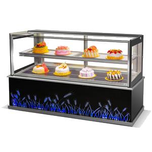 R&日式直角双层镜面蛋糕展示柜